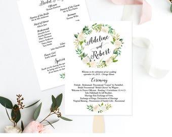 DIY Wedding Program Fans, Floral Wedding Program Fan, Personalized Wedding Program Template, Instant Download, Printable PDF, Custom,  F6