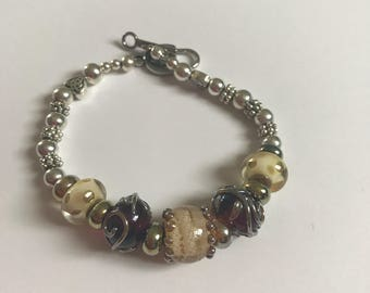 Lampwork and silver bracelet