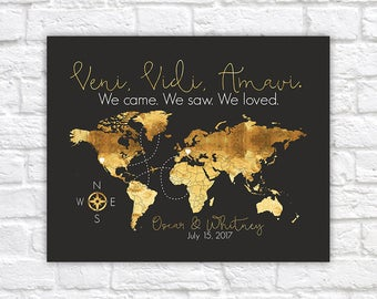 Gold World Map with Italian Quote, Veni, Vidi, Amavi - We Came, We Saw, We Loved. Italy World Travel Map, Honeymoon, Engagement   WF561