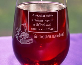Personalized Engraved Teacher's Glass, Teacher Graduation Gift, Employee Appreciation Gift, Principal Retirement Gift, Custom Keepsake Gift