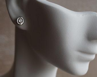 Art deco earrings-Diamond stud earrings-Solitaire earring-White Gold Earrings-Women Jewelry-Diamond earring -Anniversary gift-Birthday gift