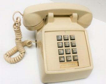 Telephone Push Button ITT Desk Phone in Beige 232 7383