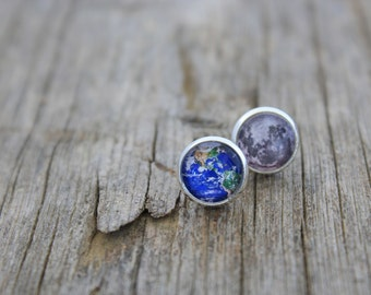 Earth and Moon Earrings, Earth and Moon Studs, Solar System Earrings, Space Earrings, Planet Earrings, Solar System, Solar System Jewelry