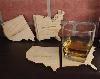 East Coaster/West Coasters, Set of 4 East Coaster/West Coasters, Natural Wood Coasters