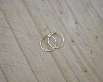 14k Gold Filled Hoop Earrings. 1/2 inch Hoop Earrings. 14k Gold Earrings. Half inch Hoop Earrings.