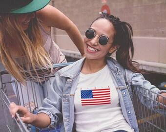 USA T-Shirt, United States Shirt, American Flag T-Shirt, Patriotic T-Shirt, American Pride, Hipster Fashion - T232