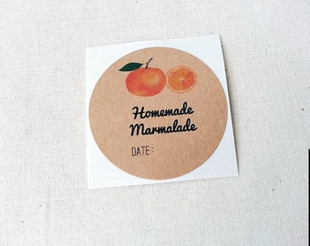 60 Homemade Marmalade Labels / Preserve Jar Labels / Canning Labels / Marmalade Labls / Mason Jar Labels / Jam Labels / Round Stickers
