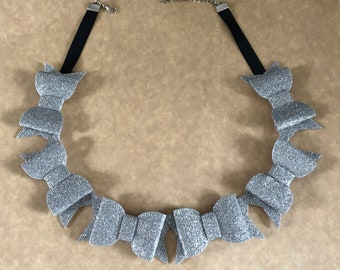 Silver Glitter Bow Statement Necklace