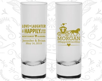 Love Laughter Shooters, Custom Shooters, Fairy Tale Wedding Shooters, Princess Carriage, Tall Shot Glasses (552)