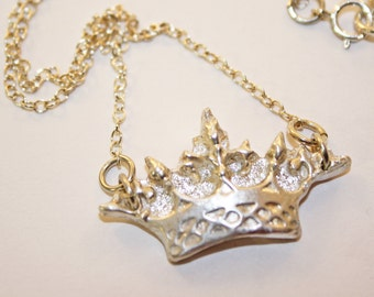 Silver Clay Crown Pendant