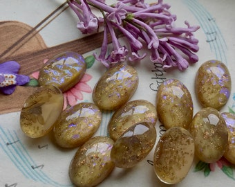 Vintage Dragons breath Cabochons, Lavender Dragons Breath, Mexican fire polished Cabochons, opalescent, Gold glitter 16x11mm #B223B