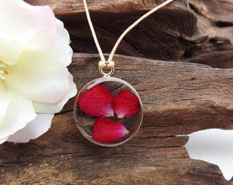 Unique Resin Pendant Necklace - with Natural Dried Rose Petals - Round Antique Gold Setting