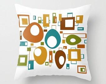 Pillow Cover, Retro Pillow, Throw Pillow Cover, Mid Century Modern, Geometric Pillow, 16x16 18x18 20x20 24x24 26x26 36x36, Cushion Cover