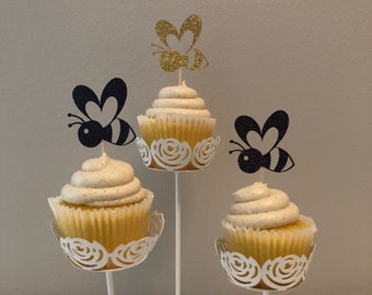 Bumbe Bee Cupcake Toppers • Bumble Bee Birthday • Set of 12 • Bee Party Decorations • Bumble Bee Decor