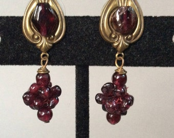 Garnet Cluster Pierced Earrings