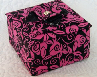 Fabric box with decorative origami flower