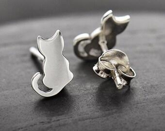 Cat Ear Studs - Sterling Silver