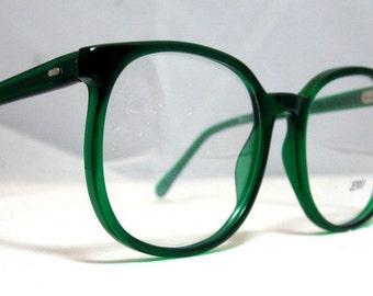 Vintage 80s Large Square Horn Rim Eyeglass Frames. Bright Emerald Green