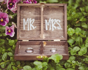 Wooden Wedding Ceremony Ring Bearer Heart Ring Box Personalized with Initials