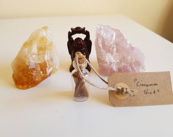 Cinnamon stick, glass bottle,pendant