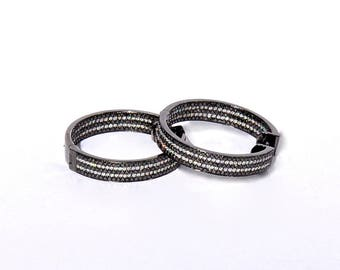 18K Black & White Diamond Hoop Earrings