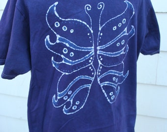 Faerie Wings Batik ORGANIC T-Shirt - Unisex Size Large - Blue, Purple and White - Hand Drawn, Hand Dyed
