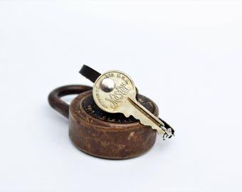Antique Master Lock SCRIPT Key BRACELET! - Handmade - Repurposed - Upcycled - Real Leather - Milwaukee - Brass Keys - Great gifts!