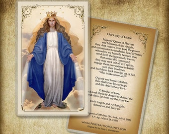 Our Lady of Grace Holy Card or Wood Magnet #0033