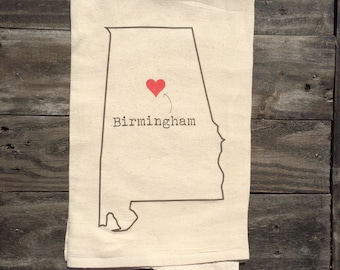Heart over Birmingham, Alabama Tea Towel