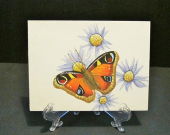Butterfly on flowers - hand painted card