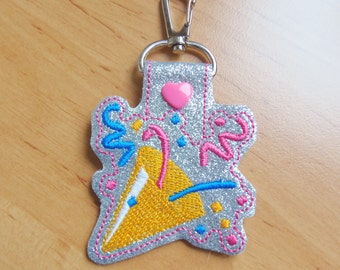 Party Popper Emoji Key Fob - snap tab machine embroidery design ITH. Party emoji In the hoop design. Embroidery file.