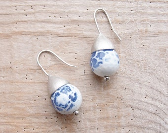 Blue Crab Agate Earrings Sterling Silver Sea Travels Rustic Jewelry