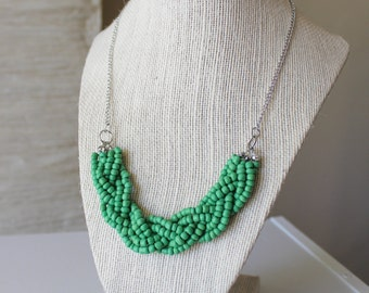 Green Statement Necklace, Green Braided Bead Necklace, Green Multistrand Necklace