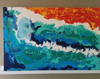 Acrylic Painting Abstract Ocean and Woman