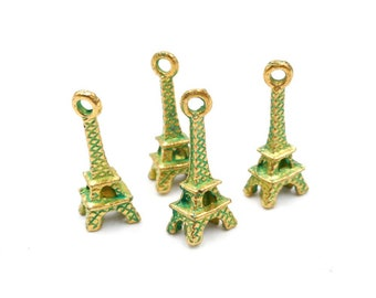 4 Patina Plated Eiffel Tower Charms - 30-3-3