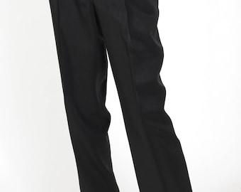 Emporio Giorgio Armani 1980s Vintage Women's Black Wide Leg High Waisted Trousers Sz M