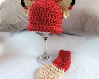 Newborn Infant Fox Beanie Hat and Tail Set - Made to Order Baby Accessories by Julian Bean