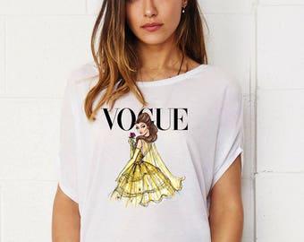 Disney Princess Belle Vogue Lady's Tunic Loose Fit T-shirt Cotton Touch Shirt Woman Shirt