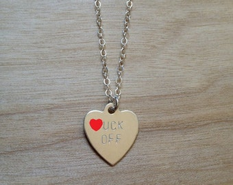 F.CK OFF Heart Necklace- Sterling Silver