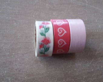 Washi tape X 3 flower hearts with polka dots