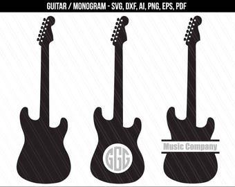 Guitar SVG, Guitar monogram svg, Guitar silhouette, clipart, Electric guitar cut file, Music svg,Guitar vector-dxf, ai, eps, pdf, png, svg