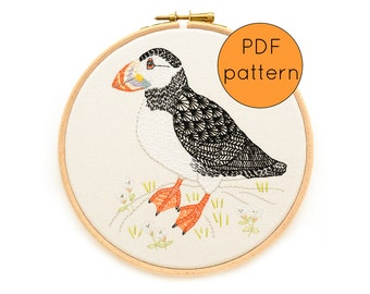 Bird Embroidery Pattern PDF Download, Puffin Embroidery Hoop Art Pattern