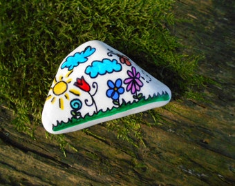 Unique hand painted marble stone floral