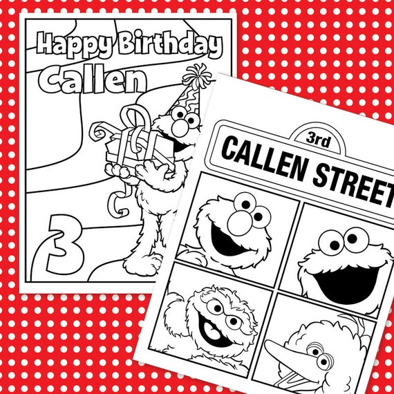 Custom Printable Birthday Coloring Sheets 4 DESIGNS /