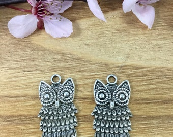 Qty 10 Owl Charms, Owl Pendants, Silver Owl Charms, Whimsical Owl Charms, Owl Charm Pendants, Owl Necklace Pendants, Wise Owl Charms
