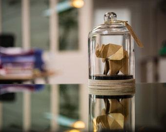 Origami Sculpture Elephant. Taxidermie. Decoration Tropical Or. Cabinet Curiosité. Cadeau Naissance. Cadeau personnalisable pour elle