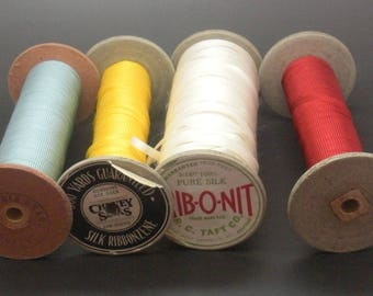 Silk Curling Ribbon on Large Spools Red, Blue, Yellow, White