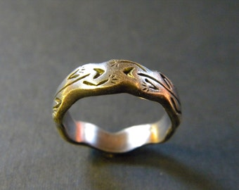 Two Lizards Ring: Sterling Silver
