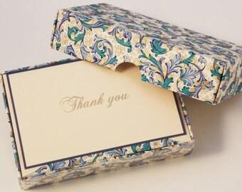Blue Florentine Thank You Cards Italian Letterpress