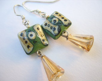 Lampwork and Swarovski Crystal Earrings